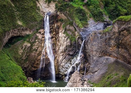 Waterfalls along the Waterfall route near Banos, Ecuador