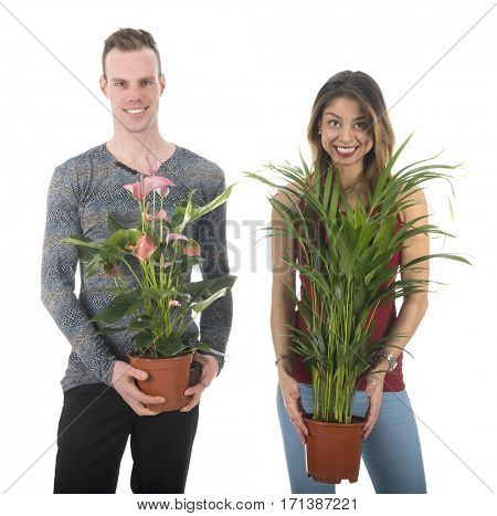 Young couple will decorate the home with plants for the interior