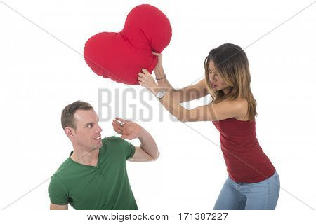 Young woman fighting with the heart of love