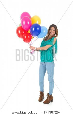 Portrait Brazilian girl with colorful balloons