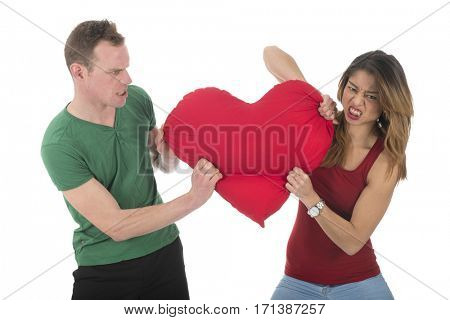 Young couple fighting for the heart of love