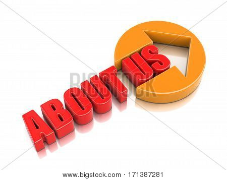3D Illustration. Sign about us. Image with clipping path