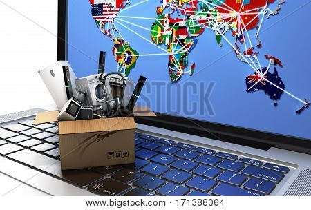 E-commerce or online shopping concept Home appliance in box on the laptop keyboard 3d render