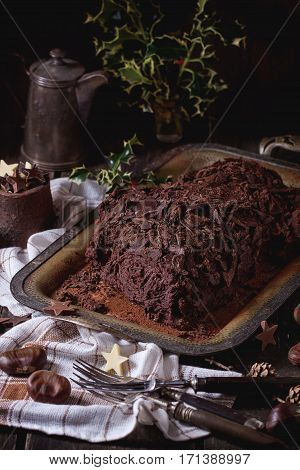 Homemade Christmas Chocolate Yule Log