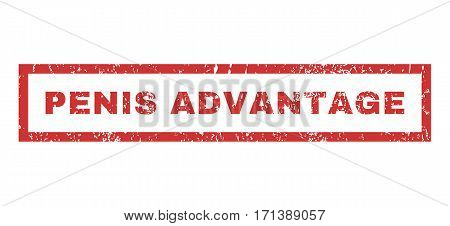 Penis Advantage text rubber seal stamp watermark. Caption inside rectangular shape with grunge design and dust texture. Horizontal vector red ink sign on a white background.