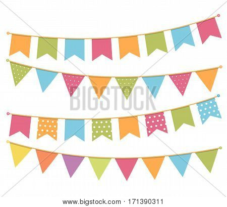 Different colorful bunting for decoration of invitations greeting cards etc, vector eps10 illustration