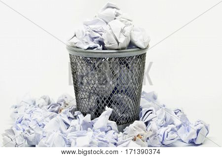 Garbage Bin With Paper Waste