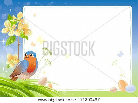 Spring nature vector poster isolated white background, robin bird, cherry blossom, eggs. Happy Easter, Birthday, Mother day watercolor holiday border pattern. Floral abstract illustration template