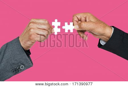 Human Hand Holding Jigsaw Puzzle Connection Corporate Business