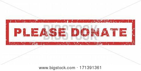 Please Donate text rubber seal stamp watermark. Caption inside rectangular banner with grunge design and dirty texture. Horizontal vector red ink sticker on a white background.