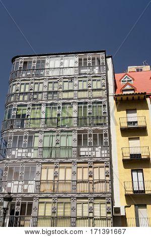 Jaen (Andalucia Spain): facade of buildings with typical verandas