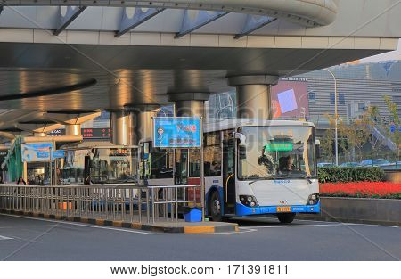 SHANGHAI CHINA - NOVEMBER 2, 2016: Unidentified people travel by bus at Pudong bus terminal.