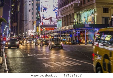 New York, USA, november 2016: Night scene in front of Madison Square Garden, 7th avenue in New York