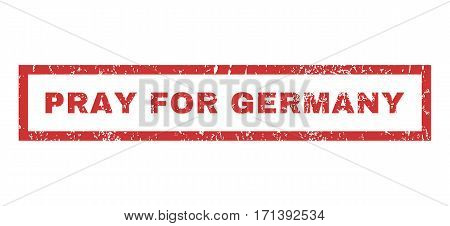 Pray For Germany text rubber seal stamp watermark. Caption inside rectangular shape with grunge design and dirty texture. Horizontal vector red ink emblem on a white background.