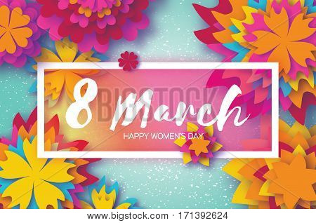 Colorful Paper Cut Flower. 8 March. Women's Day Greeting card. Origami Floral bouquet. Rectangle frame. Space for text on blue background. Happy Mother's Day. Vector Spring illustration