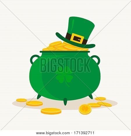 Saint Patrick's Day. Pot of Leprechaun with gold and a lucky leaf clover. Vector illustration.
