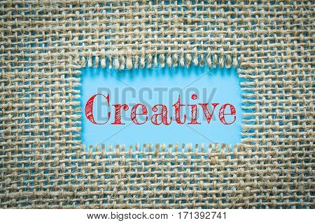 Text Creative on paper blue has Cotton yarn background you can apply to your product.