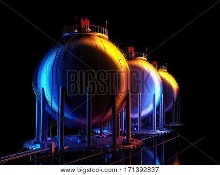 Chemical plant on a black background.,3d render