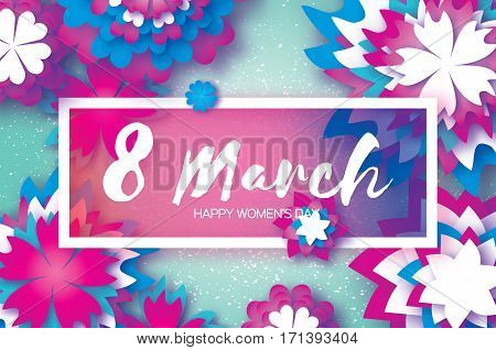 White Purple Paper Cut Flower. 8 March. Women's Day Greeting card. Origami Floral bouquet. Rectangle frame. Space for text. blue background. Happy Mother's Day. Vector Spring illustration