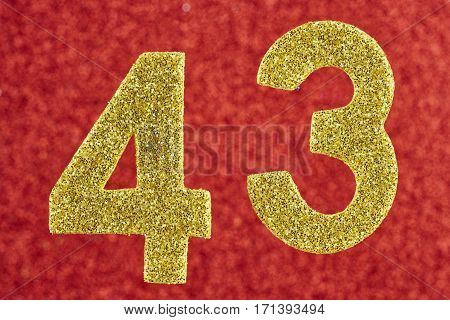Number forty-three yellow color over a red background. Anniversary. Horizontal