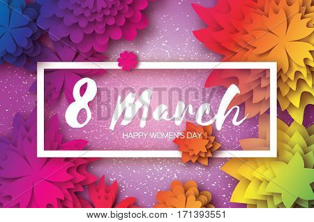 Colorful Paper Cut Flower. 8 March. Women's Day Greeting card. Origami Floral bouquet. Rectangle frame. Space for text on purple background. Happy Mother's Day. Vector Spring illustration