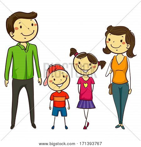 Vector Illustration of Set of Family in Stick Figures