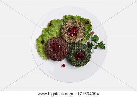traditional Georgian dish pkhali assorted white background top view