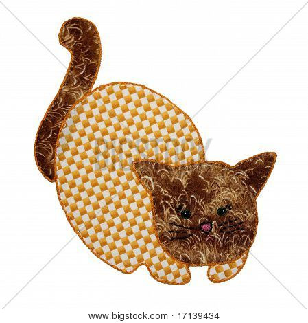 An image of a cute, country style, quilted house cat with a gingham checked like pattern on its body. This applique kitty is embroidered around the edges and is set against a white background. Great for baby scrapbook projects. poster