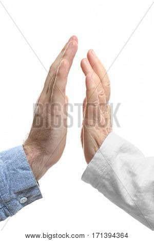 Old and young hands on white background