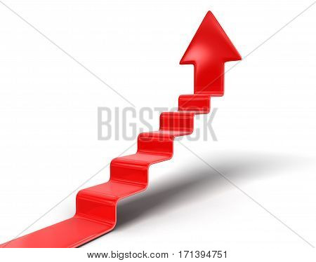 3D Illustration. Staircase and arrow up. Image with clipping path