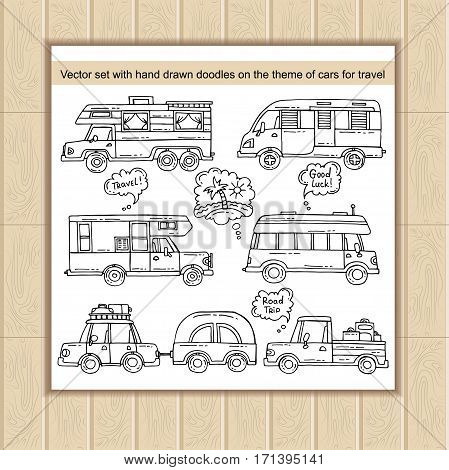 Vector set with hand drawn doodles on the theme of cars transport travel and tourism. Sketches for use in design web site packing textile fabric