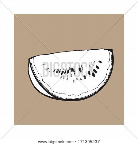 black and white Quarter slice of ripe watermelon with black seeds, sketch style vector illustration isolated on background. Realistic hand drawing of quarter section of ripe watermelon