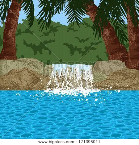 Illustration of swimming pool and garden with palms