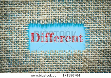 Text Different on paper blue has Cotton yarn background you can apply to your product.