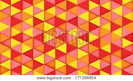 Wall of colored concrete triangular prisms as wallpaper or background. 3D rendering