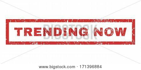 Trending Now text rubber seal stamp watermark. Tag inside rectangular shape with grunge design and dust texture. Horizontal vector red ink sign on a white background.