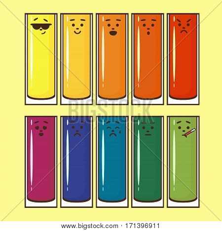 Set tall glasses with bright juice, brown emotional icons, linear, flat. Cool in glasses, happy, laugh, surprised, angry, in love, sad, cry, without emotion, sick.