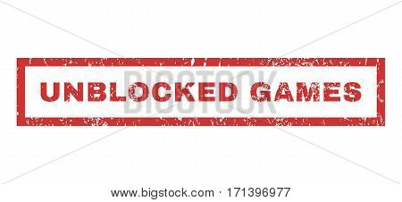 Unblocked Games text rubber seal stamp watermark. Tag inside rectangular banner with grunge design and scratched texture. Horizontal vector red ink emblem on a white background.