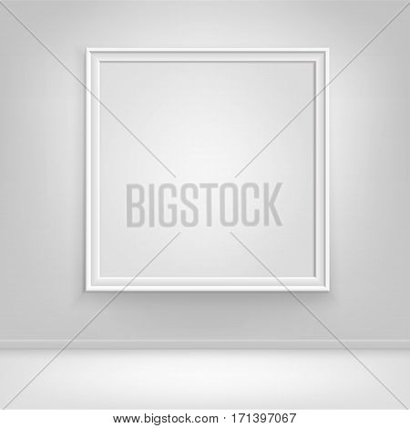 Vector Empty Blank White Mock Up Poster Picture Frame on Wall with Floor Front View