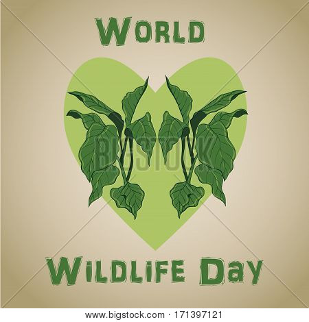 Background of rainforest leaves for World wildlife day