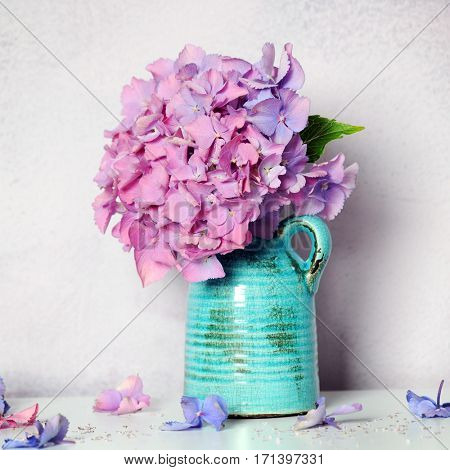 bouquet with beautiful hydrangea flowers