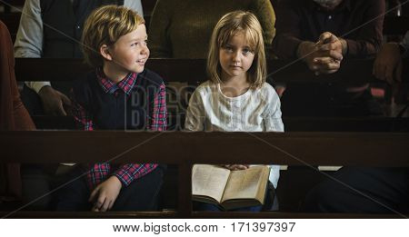 Church Children Believe Faith Religious Family
