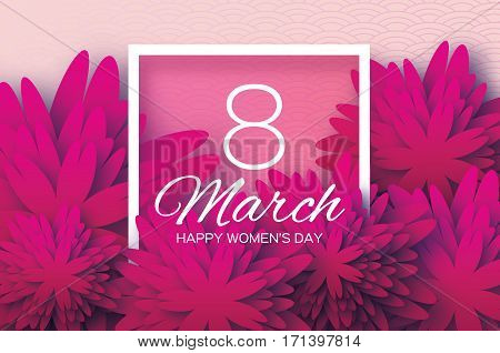 Magenta Pink Paper Cut flower. 8 March. Women's Day Greeting card. Origami Floral bouquet. Square frame. Space for text. Happy Mother's Day. Circle background. Vector Spring illustration