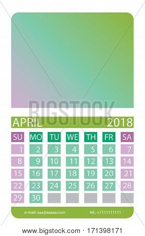 Calendar grid. April. This page wall calendar. In place of the gradient field can be foredeck your image. Eps 10