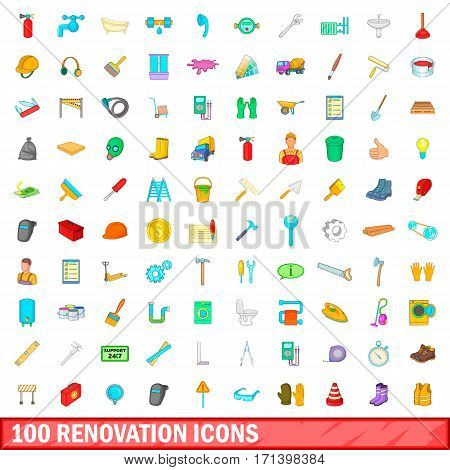 100 renovation icons set in cartoon style for any design vector illustration