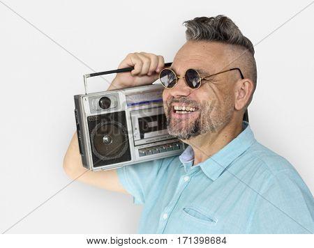 Caucasian Man Holding Jukebox Smile