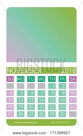 Calendar grid. November. This page wall calendar. In place of the gradient field can be foredeck your image. Eps 10