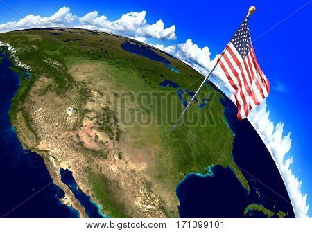 United States national flag marking the country location on world map. 3D rendering, parts of this image furnished by NASA