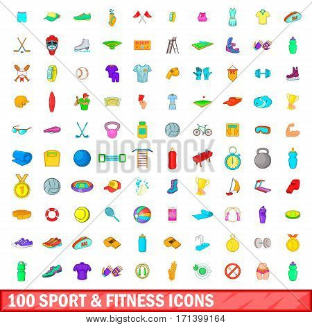 100 sport and fitness icons set in cartoon style for any design vector illustration
