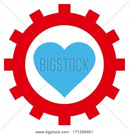 Love Heart Options Gear flat icon. Vector bicolor blue and red symbol. Pictogram is isolated on a white background. Trendy flat style illustration for web site design logo ads apps user interface.